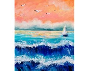 "Арт-вечеринка. Рисуем картину ""Waves of freedom"" и ужинаем"