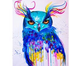 """Арт-вечеринка и безлимитное игристое. Картина """"Owl"""""""
